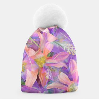 Thumbnail image of blooming pink daisy flower with purple flower background Beanie, Live Heroes