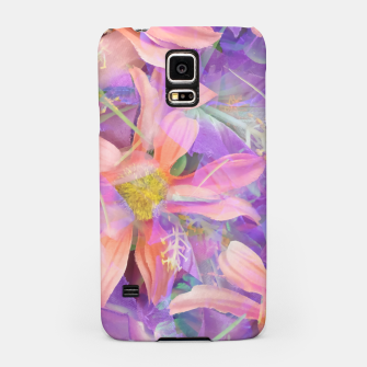 Thumbnail image of blooming pink daisy flower with purple flower background Samsung Case, Live Heroes