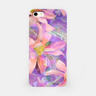 Thumbnail image of blooming pink daisy flower with purple flower background iPhone Case, Live Heroes