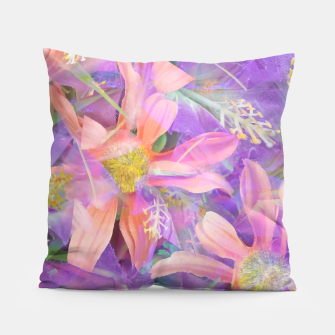 Thumbnail image of blooming pink daisy flower with purple flower background Pillow, Live Heroes