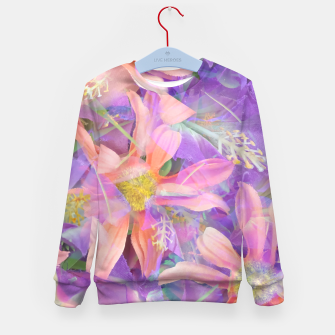 Thumbnail image of blooming pink daisy flower with purple flower background Kid's sweater, Live Heroes