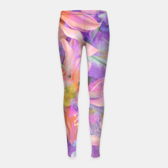 Thumbnail image of blooming pink daisy flower with purple flower background Girl's leggings, Live Heroes