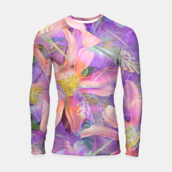 Thumbnail image of blooming pink daisy flower with purple flower background Longsleeve rashguard , Live Heroes