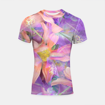 Thumbnail image of blooming pink daisy flower with purple flower background Shortsleeve rashguard, Live Heroes