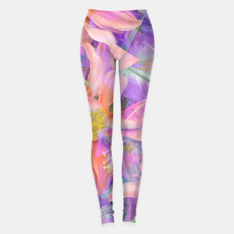 Thumbnail image of blooming pink daisy flower with purple flower background Leggings, Live Heroes