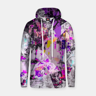 Thumbnail image of vintage psychedelic triangle polygon pattern abstract in purple pink yellow blue Cotton hoodie, Live Heroes