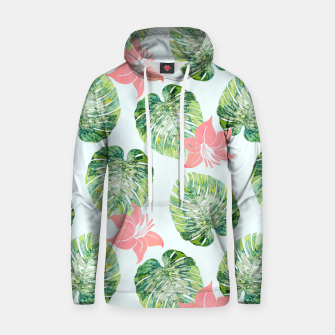 Thumbnail image of Monstera + Pink Cotton hoodie, Live Heroes