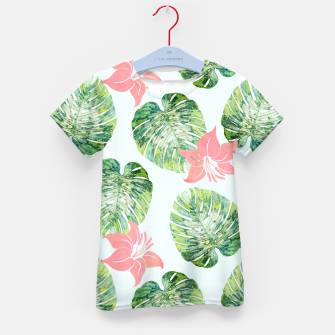Thumbnail image of Monstera + Pink Kid's t-shirt, Live Heroes