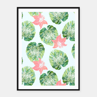Thumbnail image of Monstera + Pink Framed poster, Live Heroes