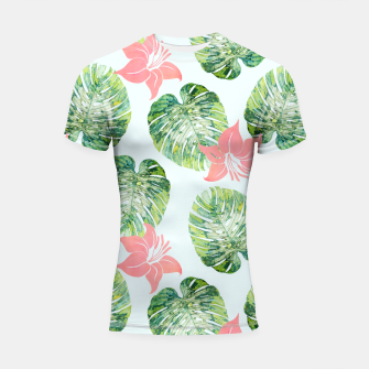 Thumbnail image of Monstera + Pink Shortsleeve rashguard, Live Heroes