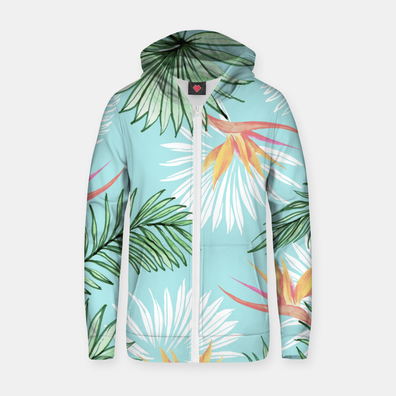 Image of Tropic Palm Cotton zip up hoodie - Live Heroes