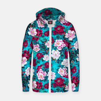 Thumbnail image of Peonies Cotton zip up hoodie, Live Heroes