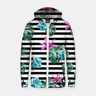 Miniature de image de Tropical Florals & Foliage on Stripes #2 #decor #art Baumwoll reißverschluss kapuzenpullover, Live Heroes