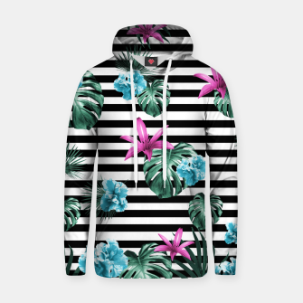 Imagen en miniatura de Tropical Florals & Foliage on Stripes #2 #decor #art Baumwoll Kapuzenpullover, Live Heroes
