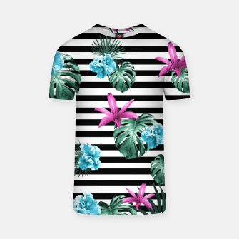 Miniatur Tropical Florals & Foliage on Stripes #2 #decor #art T-Shirt, Live Heroes