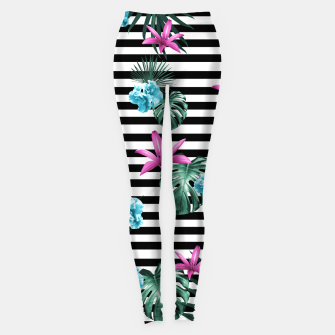 Miniaturka Tropical Florals & Foliage on Stripes #2 #decor #art Leggings, Live Heroes