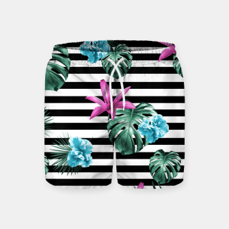 Miniaturka Tropical Florals & Foliage on Stripes #2 #decor #art Badeshorts, Live Heroes
