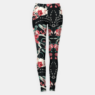 Dark mosaic of wild roses Leggings Bild der Miniatur