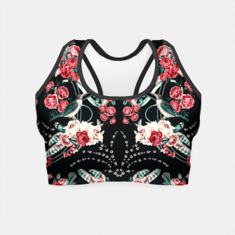 Dark mosaic of wild roses Crop Top Bild der Miniatur