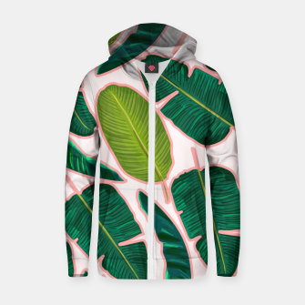 Thumbnail image of Banana Leaf Blush Cotton zip up hoodie, Live Heroes