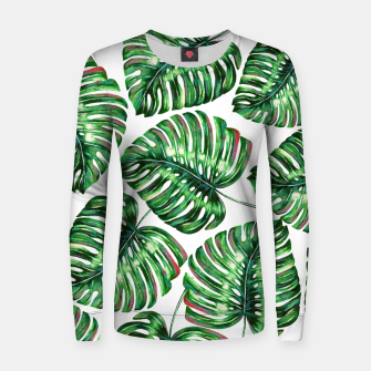 Thumbnail image of Tropical Greenery Woman cotton sweater, Live Heroes
