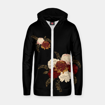 Thumbnail image of chrysanthemum and peony with Japanese traditional emblem Kamon decoration. Cotton zip up hoodie, Live Heroes