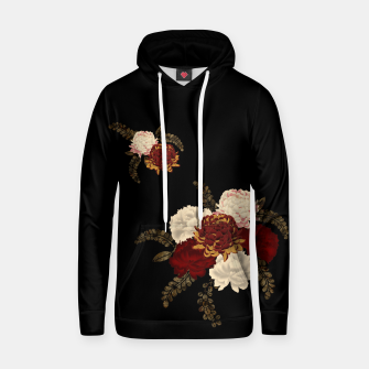 Thumbnail image of chrysanthemum and peony with Japanese traditional emblem Kamon decoration. Cotton hoodie, Live Heroes