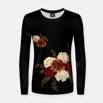 Thumbnail image of chrysanthemum and peony with Japanese traditional emblem Kamon decoration. Woman cotton sweater, Live Heroes