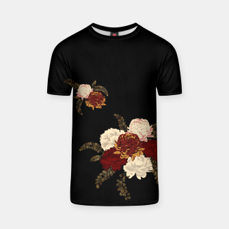 Thumbnail image of chrysanthemum and peony with Japanese traditional emblem Kamon decoration. T-shirt, Live Heroes