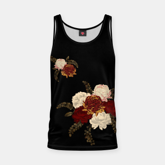 Thumbnail image of chrysanthemum and peony with Japanese traditional emblem Kamon decoration. Tank Top, Live Heroes
