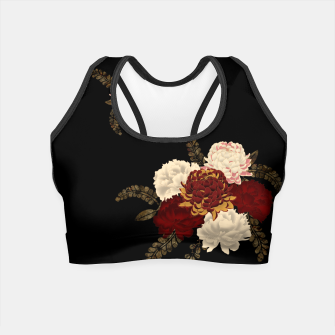 Thumbnail image of chrysanthemum and peony with Japanese traditional emblem Kamon decoration. Crop Top, Live Heroes
