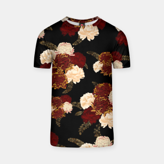 Thumbnail image of Japanese style flower art chrysanthemum and peony T-shirt, Live Heroes