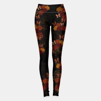 Thumbnail image of Butterfly and Japanesque Rose Baroque decoration Leggings, Live Heroes