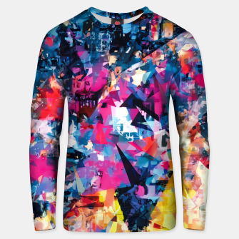 psychedelic geometric triangle pattern abstract in blue pink red yellow Cotton sweater thumbnail image
