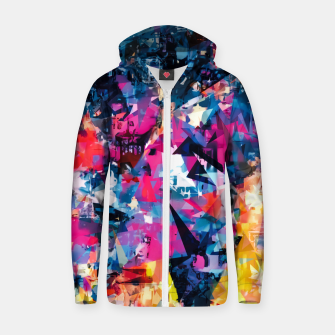 psychedelic geometric triangle pattern abstract in blue pink red yellow Cotton zip up hoodie thumbnail image