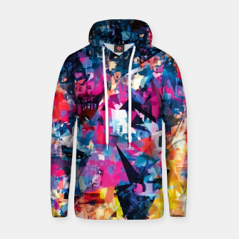 psychedelic geometric triangle pattern abstract in blue pink red yellow Cotton hoodie thumbnail image