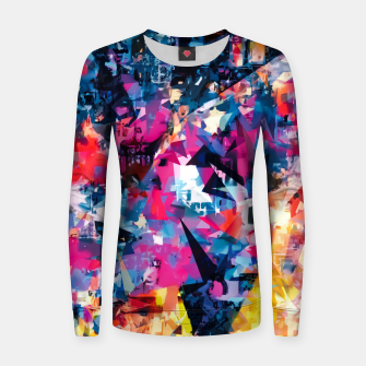 psychedelic geometric triangle pattern abstract in blue pink red yellow Woman cotton sweater thumbnail image
