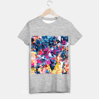 psychedelic geometric triangle pattern abstract in blue pink red yellow T-shirt regular thumbnail image