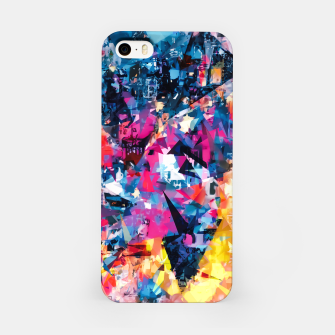 psychedelic geometric triangle pattern abstract in blue pink red yellow iPhone Case thumbnail image