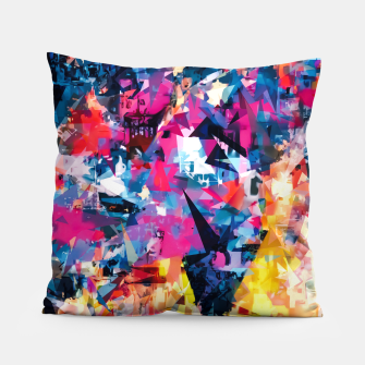 psychedelic geometric triangle pattern abstract in blue pink red yellow Pillow thumbnail image