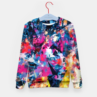 psychedelic geometric triangle pattern abstract in blue pink red yellow Kid's sweater thumbnail image