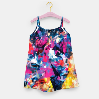 psychedelic geometric triangle pattern abstract in blue pink red yellow Girl's dress thumbnail image