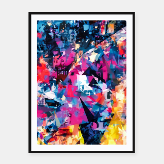 psychedelic geometric triangle pattern abstract in blue pink red yellow Framed poster thumbnail image