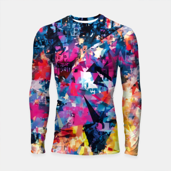 psychedelic geometric triangle pattern abstract in blue pink red yellow Longsleeve rashguard  thumbnail image