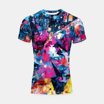 psychedelic geometric triangle pattern abstract in blue pink red yellow Shortsleeve rashguard thumbnail image