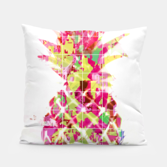 Thumbnail image of pineapple in pink yellow green blue with geometric triangle pattern abstract Pillow, Live Heroes