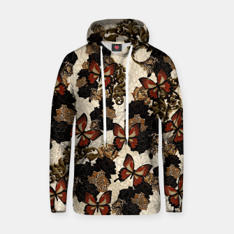 Thumbnail image of Butterfly and Japanesque Rose Baroque decoration Cotton hoodie, Live Heroes