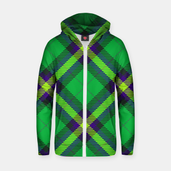 Thumbnail image of Modern Design Classic Plaid Fabric Green Cotton zip up hoodie, Live Heroes