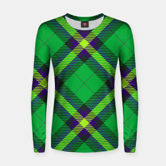 Thumbnail image of Modern Design Classic Plaid Fabric Green Woman cotton sweater, Live Heroes
