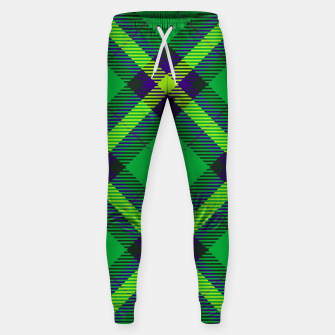 Thumbnail image of Modern Design Classic Plaid Fabric Green Cotton sweatpants, Live Heroes